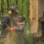 passerelle réalisé dans un chêne de 1,40 m de diamètre